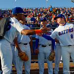 University of Florida Gators pitcher Andrew Baker and University of Florida Gators infielder Deacon Liput prior to taking the field as the Gators host and defeat the Florida State Seminoles 1-0 at McKethan Stadium. March 14th, 2017. Gator Country photo by David Bowie.