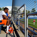Florida Gators defensive back Nick Washington came straight over from spring practice to watch the Gator Baseball team warm up for their game against the Florida State Seminoles as the Gators host and defeat the Florida State Seminoles 1-0 at McKethan Stadium. March 14th, 2017. Gator Country photo by David Bowie.