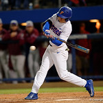 University of Florida Gators infielder Blake Reese swinging away at a pitch as the Gators host and defeat the Florida State Seminoles 1-0 at McKethan Stadium. March 14th, 2017. Gator Country photo by David Bowie.