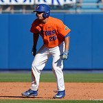 University of Florida Gators outfielder Nick Horvath leading off second base as the Gators sweep the series over the University of Miami Hurricanes with a 6-2 win at McKethan Stadium. February 26th, 2017. Gator Country photo by David Bowie.