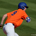 University of Florida Gators infielder Christian Hicks takes off toward second base as the Gators sweep the series over the University of Miami Hurricanes with a 6-2 win at McKethan Stadium. February 26th, 2017. Gator Country photo by David Bowie.