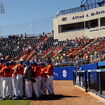 The Florida Gators baseball team gathers together prior to takng the field as the Gators sweep the series over the University of Miami Hurricanes with a 6-2 win at McKethan Stadium. February 26th, 2017. Gator Country photo by David Bowie.