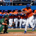 University of Florida Gators outfielder Nelson Maldonado swinging away at the plate as the Gators sweep the series over the University of Miami Hurricanes with a 6-2 win at McKethan Stadium. February 26th, 2017. Gator Country photo by David Bowie.
