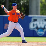 University of Florida Gators infielder Deacon Liput fields a ground ball and throws the runner out at first base as the Gators sweep the series over the University of Miami Hurricanes with a 6-2 win at McKethan Stadium. February 26th, 2017. Gator Country photo by David Bowie.