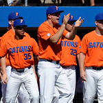 The Florida Gators celebrate as the Gators sweep the series over the University of Miami Hurricanes with a 6-2 win at McKethan Stadium. February 26th, 2017. Gator Country photo by David Bowie.