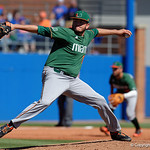 Miami Hurricanes pitcher Michael Mediavilla on the mound pitching as the Gators sweep the series over the University of Miami Hurricanes with a 6-2 win at McKethan Stadium. February 26th, 2017. Gator Country photo by David Bowie.