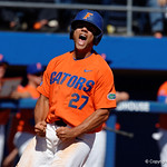 University of Florida Gators outfielder Nelson Maldonado celebrates as he crosses home to put the Gators up 2-1- as the Gators sweep the series over the University of Miami Hurricanes with a 6-2 win at McKethan Stadium. February 26th, 2017. Gator Country photo by David Bowie.