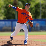 University of Florida Gators pitcher Jackson Kowar on the mound pitching as the Gators sweep the series over the University of Miami Hurricanes with a 6-2 win at McKethan Stadium. February 26th, 2017. Gator Country photo by David Bowie.