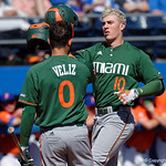 Miami Hurricanes third baseball Romy Gonzalez celebrates after homering to give the Canes a 1-0 leadas the Florida Gators sweep the series over the University of Miami Hurricanes with a 6-2 win at McKethan Stadium. February 26th, 2017. Gator Country photo by David Bowie.