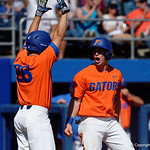 University of Florida Gators infielder Deacon Liput rounds third and slides into home to tie the game at 1-1- as the Gators sweep the series over the University of Miami Hurricanes with a 6-2 win at McKethan Stadium. February 26th, 2017. Gator Country photo by David Bowie.