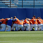 The Florida Gators gather together during pre-game as the Gators sweep the series over the University of Miami Hurricanes with a 6-2 win at McKethan Stadium. February 26th, 2017. Gator Country photo by David Bowie.