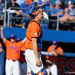 University of Florida Gators catcher JJ Schwarz is all smiles as the Gators sweep the series over the University of Miami Hurricanes with a 6-2 win at McKethan Stadium. February 26th, 2017. Gator Country photo by David Bowie.