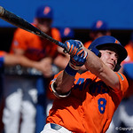 University of Florida Gators infielder Deacon Liput swinging away as the Gators sweep the series over the University of Miami Hurricanes with a 6-2 win at McKethan Stadium. February 26th, 2017. Gator Country photo by David Bowie.