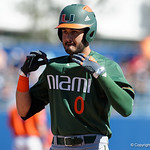 Miami Hurricanes pitcher/outfielder Gregory Veliz celebrates after singling as the Gators sweep the series over the University of Miami Hurricanes with a 6-2 win at McKethan Stadium. February 26th, 2017. Gator Country photo by David Bowie.