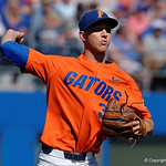 University of Florida Gators pitcher Jackson Kowar throwing to first base as the Gators sweep the series over the University of Miami Hurricanes with a 6-2 win at McKethan Stadium. February 26th, 2017. Gator Country photo by David Bowie.