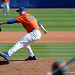 University of Florida Gators pitcher Michael Byrne on the mound in relief as the Gators sweep the series over the University of Miami Hurricanes with a 6-2 win at McKethan Stadium. February 26th, 2017. Gator Country photo by David Bowie.