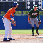University of Florida Gators infielder Dalton Guthrie leading off from second base as the Gators sweep the series over the University of Miami Hurricanes with a 6-2 win at McKethan Stadium. February 26th, 2017. Gator Country photo by David Bowie.