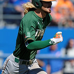 Miami Hurricanes outfielder Hunter Tackett swinging away as the Gators sweep the series over the University of Miami Hurricanes with a 6-2 win at McKethan Stadium. February 26th, 2017. Gator Country photo by David Bowie.