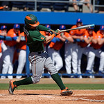 Miami Hurricanes third baseball Romy Gonzalez swinging away as the Gators sweep the series over the University of Miami Hurricanes with a 6-2 win at McKethan Stadium. February 26th, 2017. Gator Country photo by David Bowie.