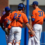 University of Florida Gators baseball head coach Kevin O'Sullivan comes out to calm down University of Florida Gators pitcher Jackson Kowar as the Gators sweep the series over the University of Miami Hurricanes with a 6-2 win at McKethan Stadium. February 26th, 2017. Gator Country photo by David Bowie.