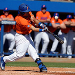 University of Florida Gators catcher Mike Rivera swinging away at the plate as the Gators sweep the series over the University of Miami Hurricanes with a 6-2 win at McKethan Stadium. February 26th, 2017. Gator Country photo by David Bowie.
