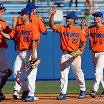 University of Florida Gators outfielder Nelson Maldonado and the Gators celebrate as the Gators sweep the series over the University of Miami Hurricanes with a 6-2 win at McKethan Stadium. February 26th, 2017. Gator Country photo by David Bowie.