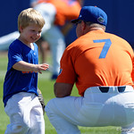 University of Florida Gators baseball head coach Kevin O'Sullivan and son during pre-game as the Gators sweep the series over the University of Miami Hurricanes with a 6-2 win at McKethan Stadium. February 26th, 2017. Gator Country photo by David Bowie.