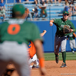 Miami Hurricanes infielder Johnny Ruiz steps on second and throws toward first base as the Gators sweep the series over the University of Miami Hurricanes with a 6-2 win at McKethan Stadium. February 26th, 2017. Gator Country photo by David Bowie.