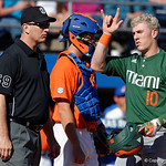 Miami Hurricanes third baseball Romy Gonzalez celebrates after homering for his second timet s the Florida Gators sweep the series over the University of Miami Hurricanes with a 6-2 win at McKethan Stadium. February 26th, 2017. Gator Country photo by David Bowie.