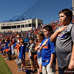 Young Gator fans line up with the Gators during the National Anthem as the Gators sweep the series over the University of Miami Hurricanes with a 6-2 win at McKethan Stadium. February 26th, 2017. Gator Country photo by David Bowie.