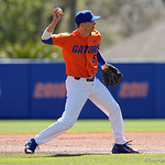 University of Florida Gators infielder Dalton Guthrie throwing to first base for an out as the Gators sweep the series over the University of Miami Hurricanes with a 6-2 win at McKethan Stadium. February 26th, 2017. Gator Country photo by David Bowie.
