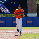 University of Florida Gators outfielder Nelson Maldonado running off the field as the Gators sweep the series over the University of Miami Hurricanes with a 6-2 win at McKethan Stadium. February 26th, 2017. Gator Country photo by David Bowie.
