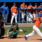 University of Florida Gators baseball head coach Kevin O'Sullivan watching on from the dugout as the Gators sweep the series over the University of Miami Hurricanes with a 6-2 win at McKethan Stadium. February 26th, 2017. Gator Country photo by David Bowie.