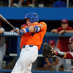 University of Florida Gators catcher Mark Kolozsvary swings away at a pitch as the Gators fall 4-2 to the South Carolina Gamecocks at McKethan Stadium. April 21st, 2017. Gator Country photo by David Bowie.