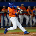 University of Florida Gators outfielder Ryan Larson swings away at a pitch as the Gators fall 4-2 to the South Carolina Gamecocks at McKethan Stadium. April 21st, 2017. Gator Country photo by David Bowie.