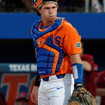 University of Florida Gators catcher Mark Kolozsvary looks to the dugout as the Gators fall 4-2 to the South Carolina Gamecocks at McKethan Stadium. April 21st, 2017. Gator Country photo by David Bowie.
