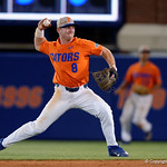University of Florida Gators infielder Deacon Liput throwing to first base as the Gators fall 4-2 to the South Carolina Gamecocks at McKethan Stadium. April 21st, 2017. Gator Country photo by David Bowie.