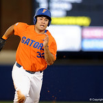 University of Florida Gators outfielder Keenan Bell rounds second and sprints toward third base as the Gators fall 4-2 to the South Carolina Gamecocks at McKethan Stadium. April 21st, 2017. Gator Country photo by David Bowie.