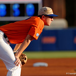 University of Florida Gators infielder Christian Hicks gets set for the first pitch as the Gators fall 4-2 to the South Carolina Gamecocks at McKethan Stadium. April 21st, 2017. Gator Country photo by David Bowie.