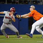 University of Florida Gators infielder Christian Hicks tages out Gamecocks infielder Jacob Olsen during a run down as the Gators fall 4-2 to the South Carolina Gamecocks at McKethan Stadium. April 21st, 2017. Gator Country photo by David Bowie.