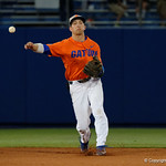 University of Florida Gators infielder Dalton Guthrie throwing to first base for a force out as the Gators fall 4-2 to the South Carolina Gamecocks at McKethan Stadium. April 21st, 2017. Gator Country photo by David Bowie.