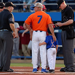 University of Florida Gators baseball head coach Kevin O'Sullivan and his son Finn durint the coaches meeting at home plate as the Gators fall 4-2 to the South Carolina Gamecocks at McKethan Stadium. April 21st, 2017. Gator Country photo by David Bowie.