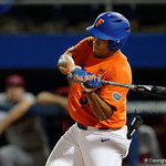 University of Florida Gators outfielder Keenan Bell swings away at a pitch as the Gators fall 4-2 to the South Carolina Gamecocks at McKethan Stadium. April 21st, 2017. Gator Country photo by David Bowie.
