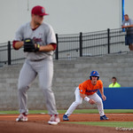 University of Florida Gators infielder Deacon Liput leading off from first base as the Gators fall 4-2 to the South Carolina Gamecocks at McKethan Stadium. April 21st, 2017. Gator Country photo by David Bowie.