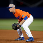 University of Florida Gators catcher JJ Schwarz gets set at first base as the Gators fall 4-2 to the South Carolina Gamecocks at McKethan Stadium. April 21st, 2017. Gator Country photo by David Bowie.