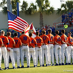 The Florida Gators baseball team during the National Anthem as the Gators fall 4-2 to the South Carolina Gamecocks at McKethan Stadium. April 21st, 2017. Gator Country photo by David Bowie.