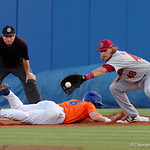 University of Florida Gators infielder Deacon Liput slides back to first base as the Gators fall 4-2 to the South Carolina Gamecocks at McKethan Stadium. April 21st, 2017. Gator Country photo by David Bowie.