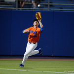University of Florida Gators outfielder Ryan Larson runs down a fly ball as the Gators fall 4-2 to the South Carolina Gamecocks at McKethan Stadium. April 21st, 2017. Gator Country photo by David Bowie.