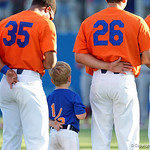 University of Florida Gators baseball head coach Kevin O'Sullivan's son Finn lines up with the Gators during the National Anthem as the Gators fall 4-2 to the South Carolina Gamecocks at McKethan Stadium. April 21st, 2017. Gator Country photo by David Bowie.