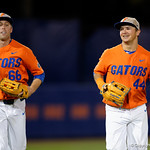 University of Florida Gators outfielder Ryan Larson and University of Florida Gators pitcher Austin Langworthy run into the dugout as the Gators fall 4-2 to the South Carolina Gamecocks at McKethan Stadium. April 21st, 2017. Gator Country photo by David Bowie.